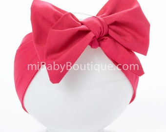 Baby Headwrap // Stylish Big Bow // Baby Head Scarf // Hot Pink // Top Knot // Cotton Head Wrap // Photo Prop