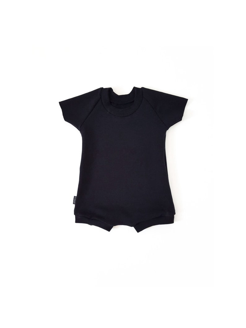 578dab6a0aac BLACK Stretch Baby Romper Toddler Romper Harem Shorts Bamboo