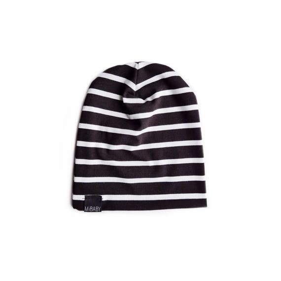 c61baf3ff32 BLACK & WHITE Striped Beanie / Toddler Beanie / Baby Beanie / | Etsy