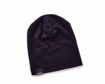BLACK Slouchy Beanie for Baby, Toddler & Adult. Ethically Made Eco Friendly Bamboo Cotton Hipster Style Stretch Knit Toque by Mibaby