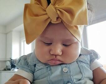 Mustard Headwrap   Bow Baby Headwrap   Turban Tie   Top Knot   Cotton Head Wrap   Baby Photo Prop