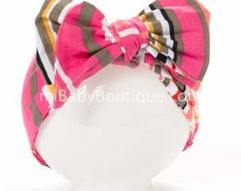Baby Headwrap // Baby Head Scarf // PINK Polka Dots // Stylish Big Bow // Top Knot // Cotton Head Wrap // Photo Prop