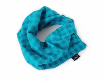 Hipster Baby Scarf / Toddler Scarf Bib / Teal Plaid Scarf / Baby Boy Bib Scarf / Infant Scarf / MiBaby Boutique