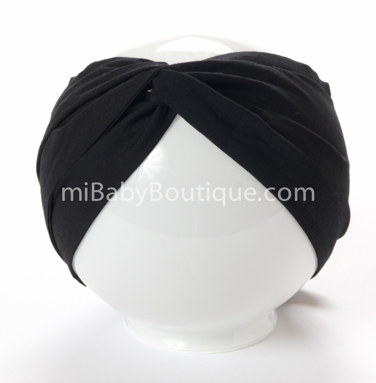 Baby Headwrap Baby Head Scarf Black Big Bow Top Knot Solid Colour