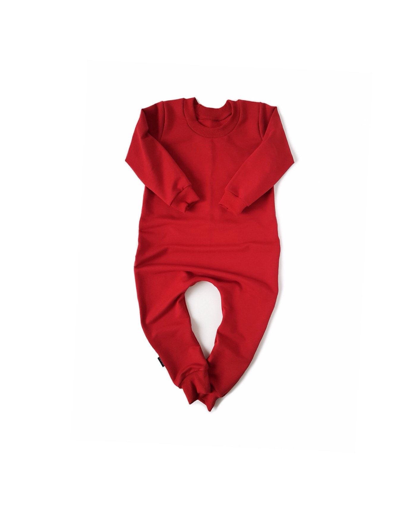 5524ec69618 RED Baby Romper   Toddler Romper One Piece Sweatshirt Jumpsuit ...