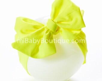 Stylish Big Bow Baby Headwrap // Turban Tie // Top Knot // Cotton Head Wrap // Neon // Photo Prop