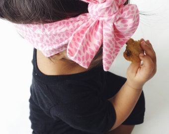 Pink Baby Headwrap / Baby Headbands / Big Bow / Top Knot / Rose Knot / Cotton Head Wrap