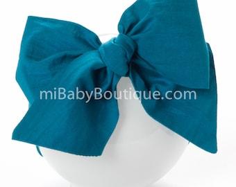 Baby Headwrap // Baby Head Scarf // Teal Blue Head Wrap // Big Bow // Top Knot // Cotton Head Wrap // Boho // Photo Prop