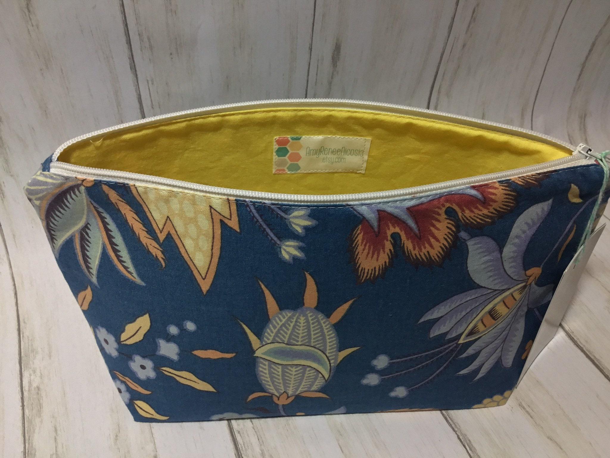 dee9449fa08 Makeup Bag Yellow and Blue Handmade Cosmetic Bag Toiletry Bag Make Up Bag  Medium Sized Make Up Pouch Flat Bottom Monogrammed Bag