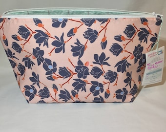 Large Makeup Bag Floral Print Zipper Pouch Blue Pink Purple Big Cosmetic Bag, Handmade Large Toiletry Bag Large Make Up Pouch Large Monogram