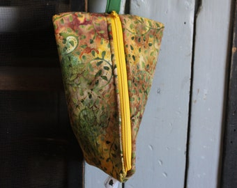 Triangle Wristlet - Green and Gold Batik