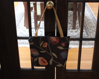 Zippered Tote Bag/Purse - Vintage Flowers (Brown)