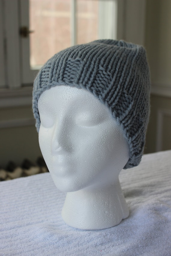 Hand-Knit Hat Grey Stockinette  5471be2c636