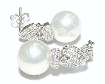 Stunning Mirror Luster China Edison Natural White Round 10.3mm FW Cultured Pearl Dangle Earrings Best Gift for Her