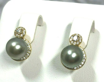 351d31d8e Stunning Premium Tahitian Sea Round Silvery Gray High Luster 8.5-9mm  Cultured Pearl 925 Sterling Silver 18K GP CZ Diamond Stud Earrings