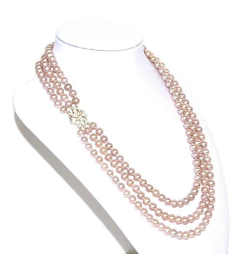 581d7e2c7cdc8 Stunning Classic 14K Yellow Gold Diamonds Clasp AAA+ Luster FW Cultured  Lavender Pink Color Round 6 - 7mm Pearls Triple Strand Necklace