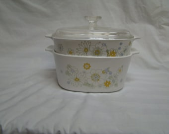 Corning Floral Bouquet 3 L (A--3-B) & 2 L ( A-2-B} Casseroles W Lid Yellow and Green