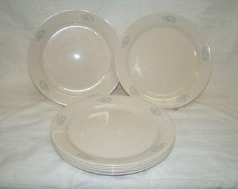 Corelle Lace Bouquet 4 Dinner Plates~ Blue Floral White Rings