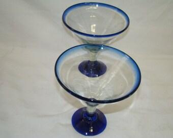 2~Vintage Mexican Bubble Hand Blown Giant Martini~Margarita Glasses Cobalt Blue
