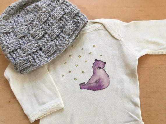 Snow Bear Cotton Onesie, Holiday Bear Baby Gift, Long or Short Sleeve Infan Shirt, FREE GIFTWRAP