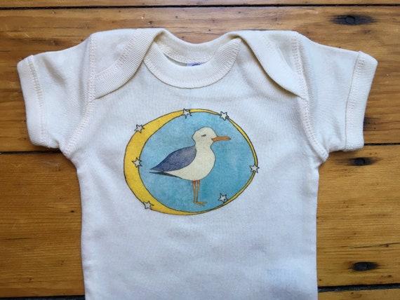Seagull Infant Cotton Onesie, Sea Bird Baby Bodysuit, Whimsical Seagull Kids Shirt