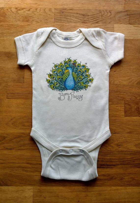 Born Fancy Cotton Onesie, Peacock Onesie, Funny Baby Gift, Cute Infant Bodysuit