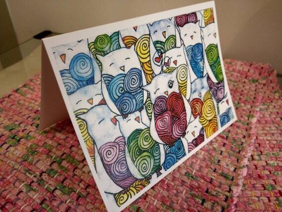 Valentine Owls 5x7 Holiday Greeting Card, Valentine card set, Greeting Card