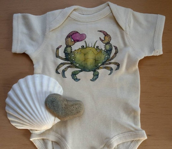 Little Crab Off-White cotton onesie, Nautical Valentine Shirt, Ocean Baby Gift, Long and Short Sleeve Options