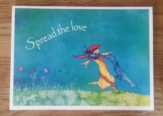 Spread The Love 5X7 Greeting Card, Valentine Gift Card, Unique Watercolor Greeting Card, FREE SHIPPING