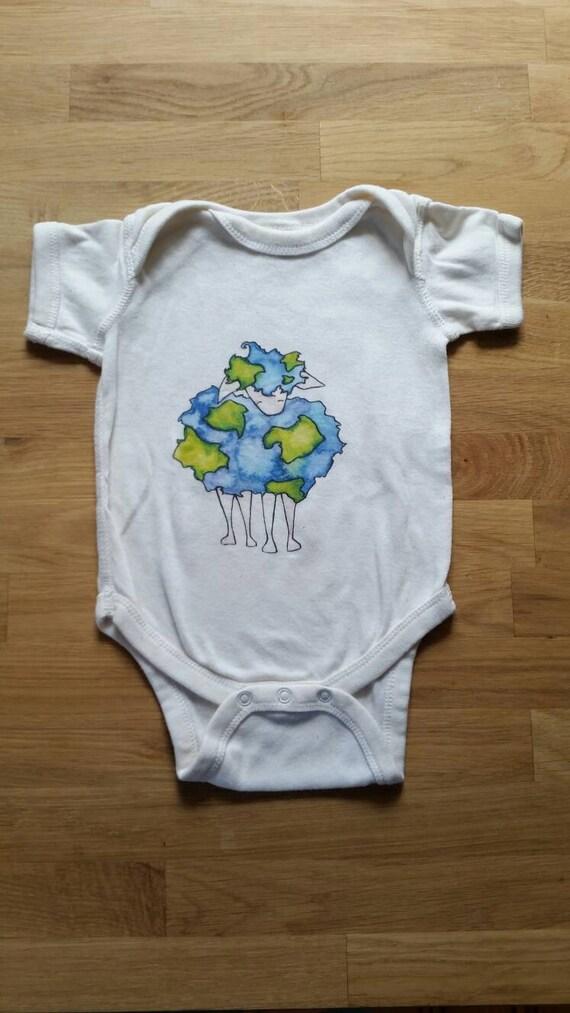 Earth Sheep Cotton Onesie, Farm Onesies, Sheep Baby Gift, Cute Cotton Bodysuit