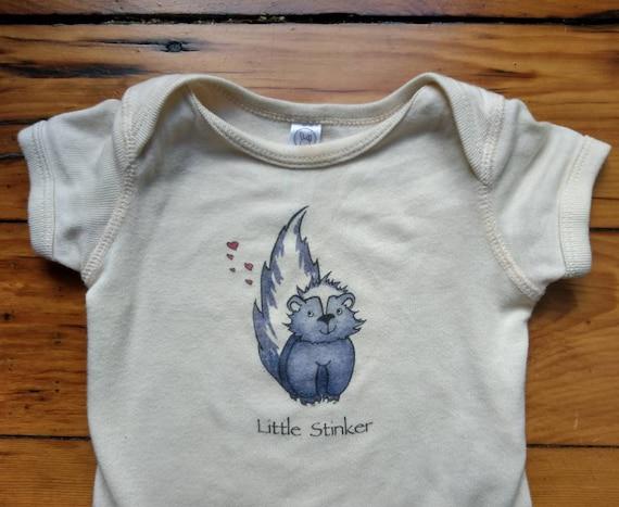 Little Stinker Cotton Onesie, Skunk Infant Shirt, Funny Baby Gift, Skunk Cotton Bodysuit