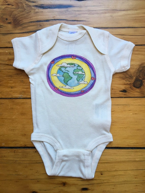 Earth Bubble Infant Cotton Onesie, Earth Day Bodysuit, Whimsical Earth Lover Baby Shirt