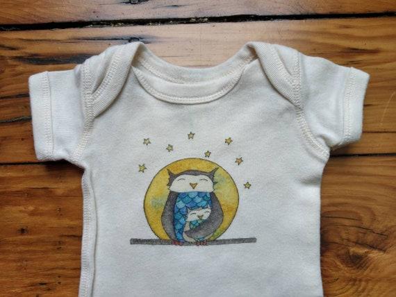 Owl Moon Cotton Onesie, Owl Baby Shirt, Dad and Baby Owl Infant Bodysuit, Sweet Baby Gift