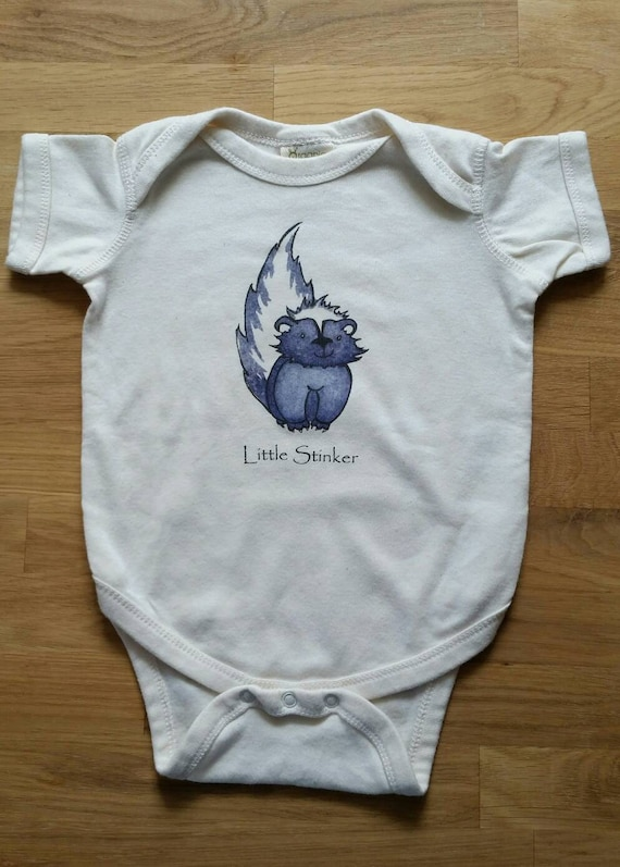 Little Stinker Cotton Onesie, Skunk Infant Shirt, Funny Baby Gift, Skunk Cotton Bodysuit