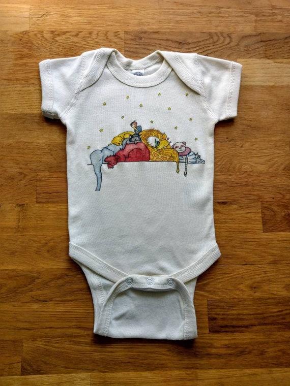 Cuddle Puddle Cotton Onesie, Sleepy Animal Baby Gift, Cute Infant Bodysuit