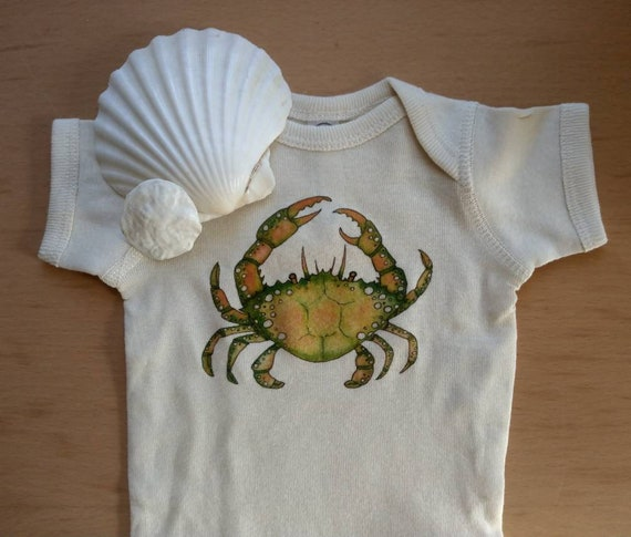 Little Crab Off-White cotton onesie, Nautical Baby Gift, Long and Short Sleeve Options