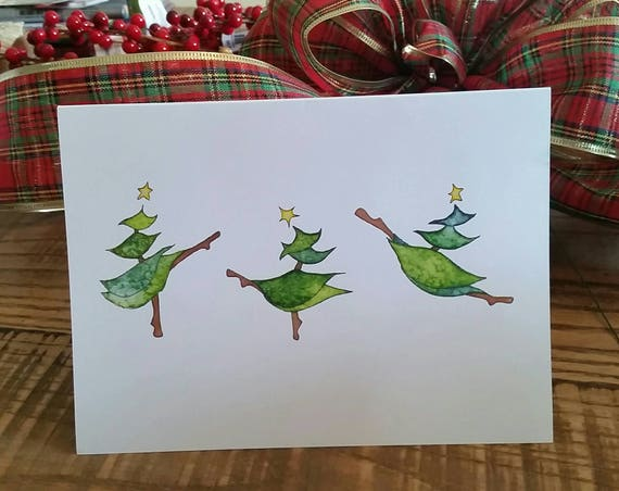 Dancing Christmas Trees 5x7 Holiday Greeting Card, Christmas Card Set, Christmas Tree Holiday Cards, Handmade Holiday Cards, FREE SHIPPING