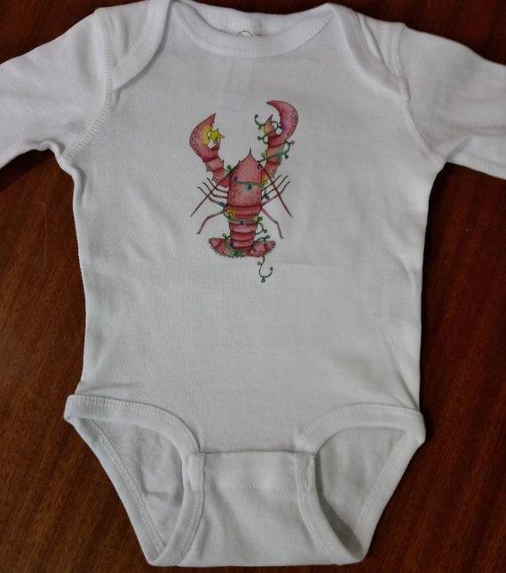 Christmas Lobster Stark White LONG SLEEVE Cotton Onesie