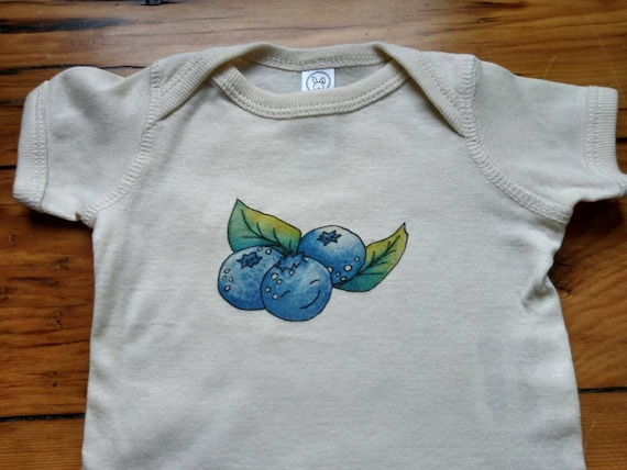 Little Blueberry Off-White Cotton Onesie, Maine Blueberry Baby Gift, Cute Infant Bodysuit, Long and Short Sleeve Options