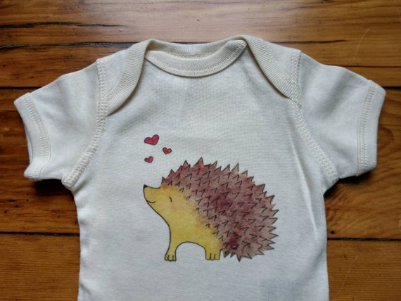 Happy Hedgehog Infant Cotton Onesie, Woodland Themed Baby Gift, Hedgehog Infant Shirt, Long and Short Sleeve Options, FREE GIFTWRAP