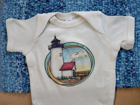 Lighthouse Off-White cotton onesie, Nautical Shirt, Ocean Baby Gift, Long and Short Sleeve Options