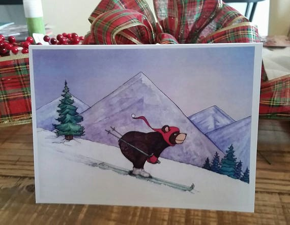Bear on Ski's 5x7 Holiday Greeting Card, Christmas card set, Handmade Holiday Cards, FREE SHIPPING