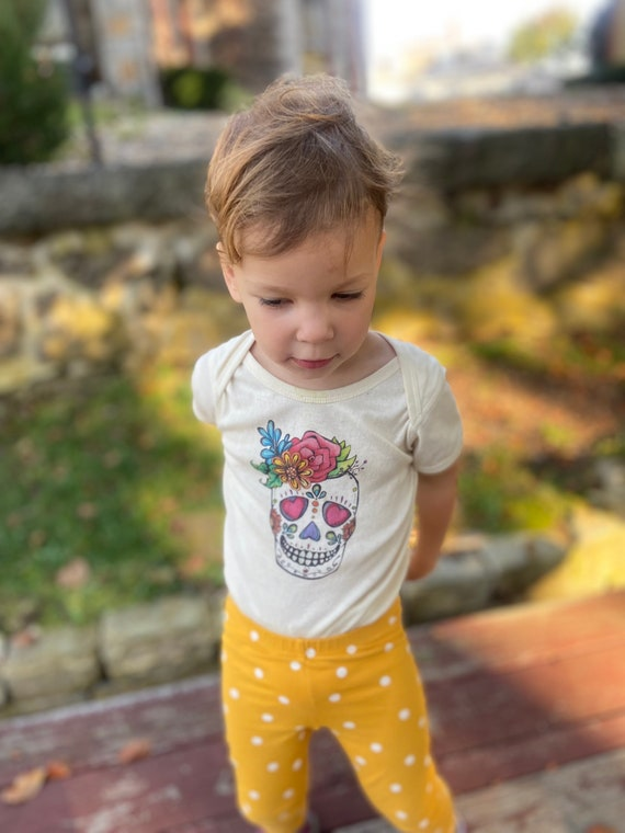 Day of the Dead Skull Onesie, Off-White Cotton Baby Shirt, Long and Short Sleeve Options, Dia de los Muertos Baby Gift