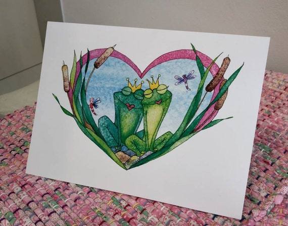 Smoochy Frogs 5x7 Valentine Card, Frog Greeting Card, Holiday Card Set