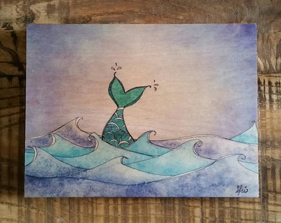 Mermaid Tail 6x8 Wood Print, Mermaid Wall Art, Unique Mermaid Print