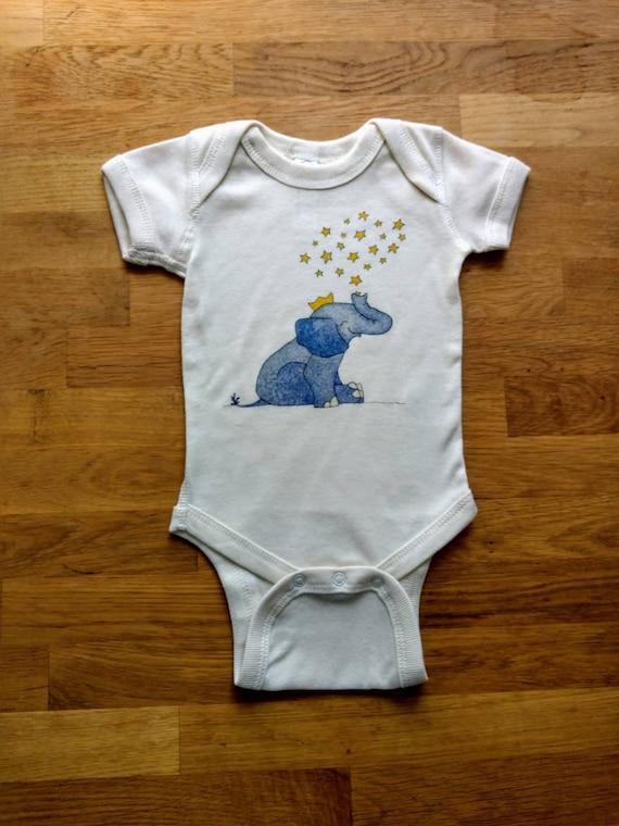 Elephant Prince Off-White Cotton Onesie, Elephant Baby Gift, Cute Infant Bodysuit