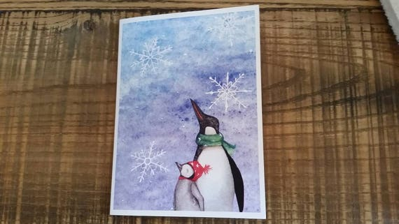 Let It Snow Penguin 5x7 Holiday Greeting Card, Christmas Card Set, Handmade Holiday Cards, Penguin Gift Cards, FREE SHIPPING