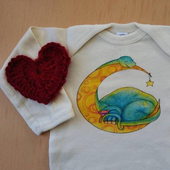 Sleepy Dinosaur Off-White Cotton Onesie, Dino Baby Gift, Brontosaurus Baby Shirt, Long and Short Sleeve Options