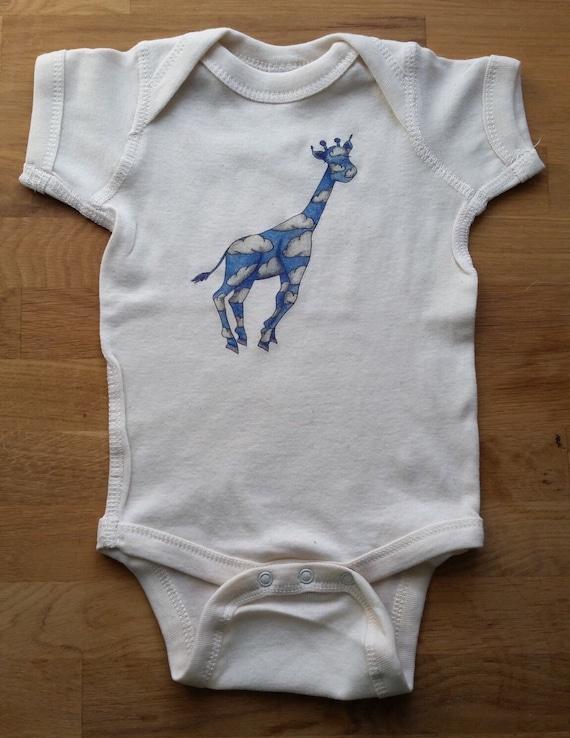 Dreamy Giraffe Cotton Onesie, Cloud Giraffe Bodysuit, Cute Baby Shirt, Giraffe Baby Gift
