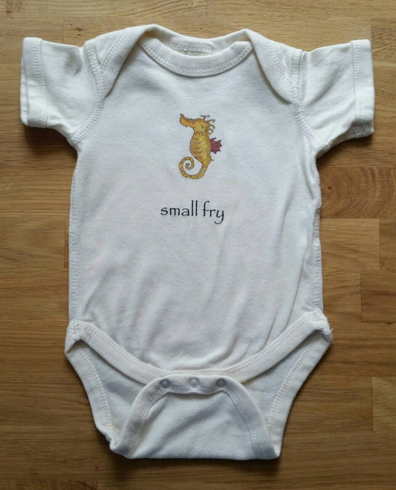 Small Fry Cotton Onesie, Seahorse Onesie, Seahorse Bodysuit, Ocean Themed Baby Gift